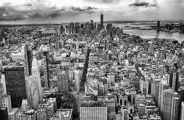New York Manhattan skyline in zwart wit van Nannie van der Wal