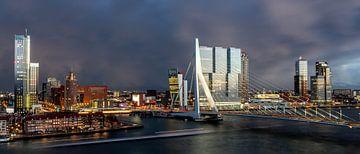 Rotterdam Erasmusbrug bij avond van