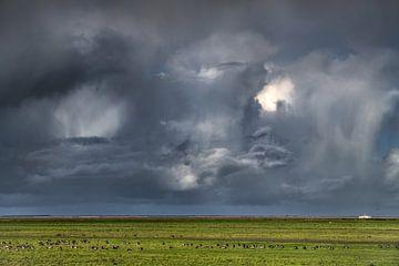 Wolkenlucht boven het Noorderleeg en de boot van Ameland van Harrie Muis