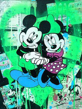 Mickey und Minnie Maus Grünes Herz von Kathleen Artist Fine Art