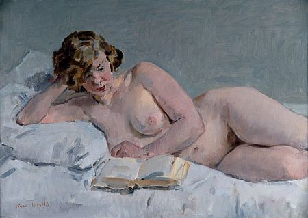 Lezend Naakt | Naaktmodel op bed | Naaktschilderij | Isaac Israels