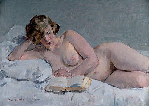 Lezend Naakt | Naaktmodel op bed | Naaktschilderij | Isaac Israels von Schilderijen Nu