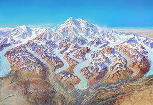 Kaart van Denali National Park (zonder labels), Heinrich Berann van Creatieve Kaarten