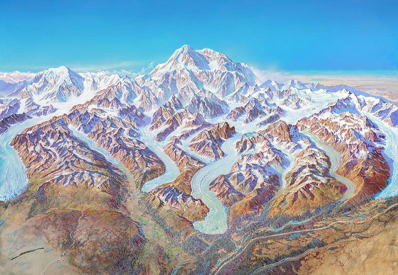 Carte du parc national de Denali (sans étiquettes), Heinrich Berann sur Creatieve Kaarten