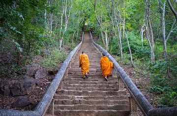 Boeddhistische monniken beklimmen en trap in Battambang, Cambodja van Teun Janssen