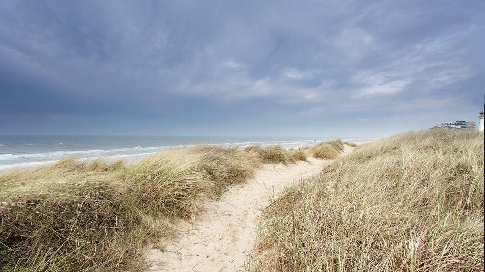 Uitzicht op zee tijdens storm van Hanske Kroon