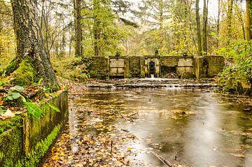 Waterloop met oud sluisje in een herfstbos van Frans Blok