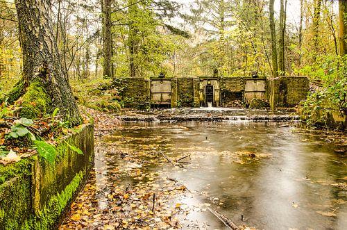 Waterloop met oud sluisje in een herfstbos