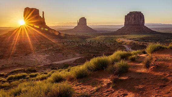 Zonsopkomst in Monument Valley van Edwin Mooijaart