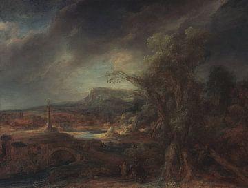 Landschaft mit Obelisk, Govert Flinck - 1638