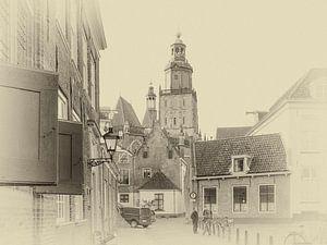 Straatbeeld van het oude centrum van Zutphen. van