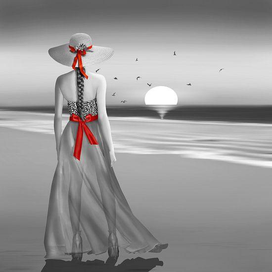 De dame aan de zee