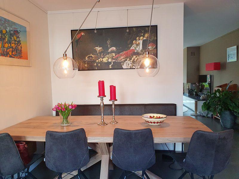 Klantfoto: Pronkstilleven (uitsnede), Adriaen van Utrecht, op canvas