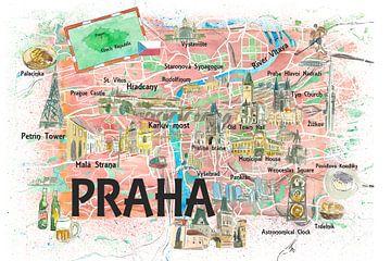 Prag Tschechische Republik Illustrierte Karte mit Sehenswürdigkeiten und Highlights von Markus Bleichner