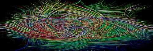 Kleurrijk lijnenspel op zwarte achtergrond