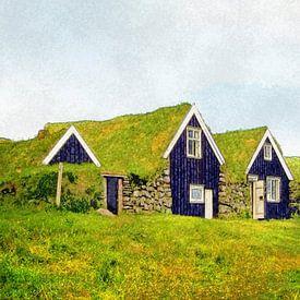 Erdhütten in Skaftafell, Island von Frans Blok