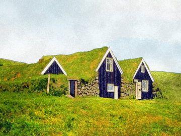 Plaggenhutten in Skaftafell, IJsland van Frans Blok