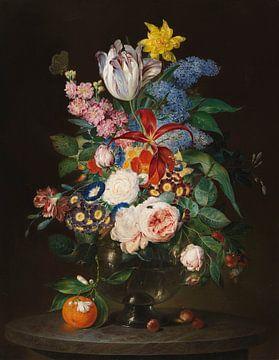 Schitterend bloemstilleven met insecten, THEODOR MATTENHEIMER, 1830 van Atelier Liesjes