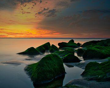 De rotsen op het strand van Katwijk aan Zee van Wim van Beelen