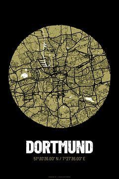 Dortmund – City Map Design Stadtplan Karte (Grunge) von ViaMapia
