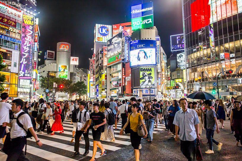Shibuya crossing in de nacht van Jeffrey Schaefer