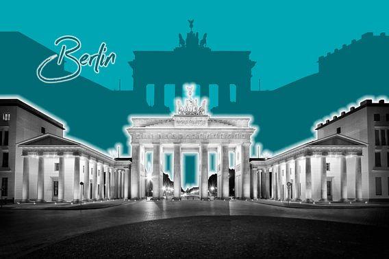 Berlin Brandenburg Gate | Graphic Art | turkoois van Melanie Viola