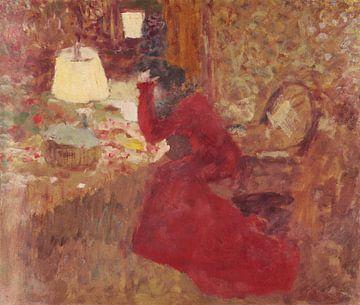 Femme en robe rouge, ou J. R. contre fenêtre, Édouard Vuillard sur