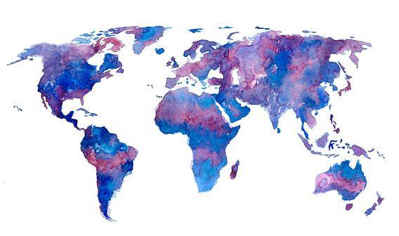 Wereldkaart in Aquarel | Paars en Blauw