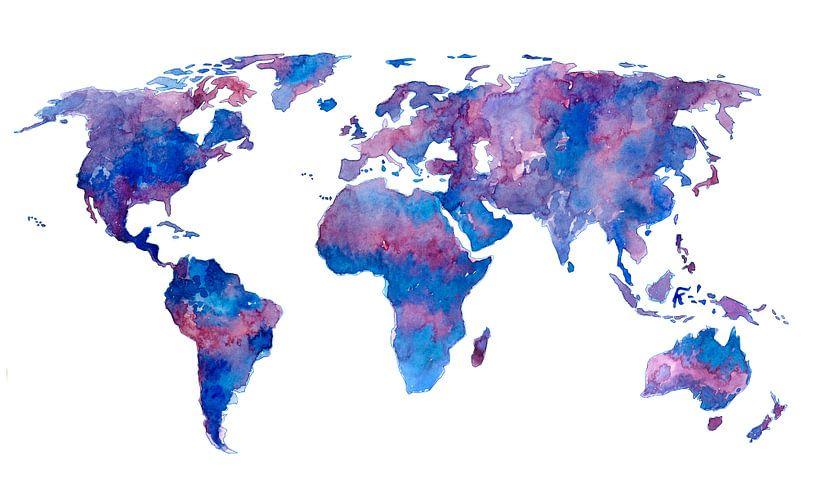Wereldkaart in Aquarel | Paars en Blauw van Wereldkaarten.Shop