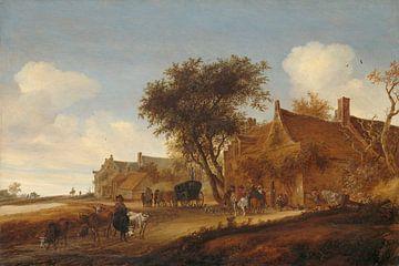 Dorfgasthaus mit Tourenwagen, Salomon van Ruysdael, 1655