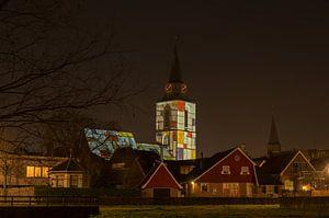 Mondriaan verlichting op de kerktoren van Winterswijk