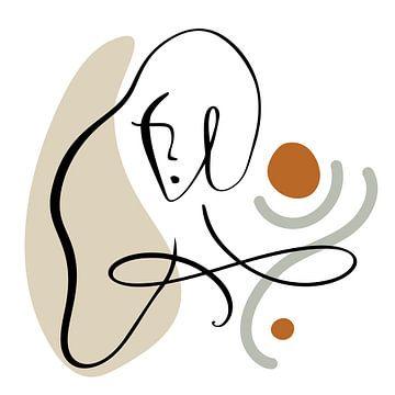 Lijntekening Gezicht Vrouw Met Abstracte Vormen