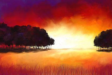 Schilderij van een abstract-expressive landschap