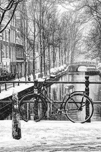 Binnenstad van Amsterdam in de Winter Zwart-Wit