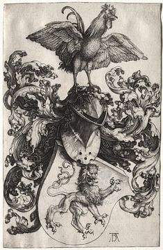 Wapenschild met een leeuw en haan, Albrecht Dürer van De Canon