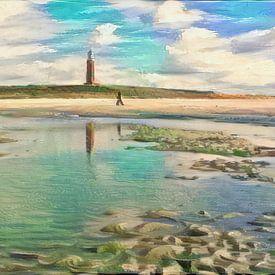 Stijlvol schilderij: wandeling op het strand van Texel - geschilderd met algoritme van Slimme Kunst.nl