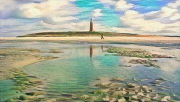 Spaziergang auf dem Wattenmeer von Slimme Kunst.nl