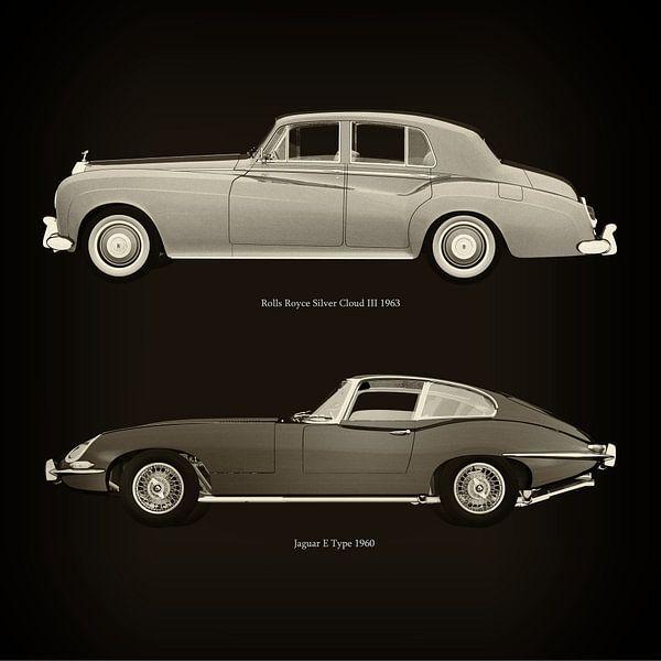 Rolls Royce Silver Cloud III 1963 en Jaguar E Type 1960 van Jan Keteleer