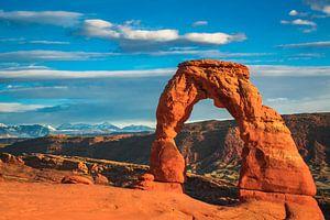 Laat zonlicht op Delicate Arch, Utah