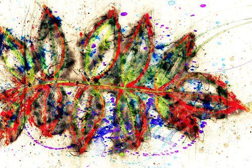 abstrakte Blaetter auf weissen Hintergrund van Dagmar Marina