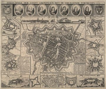 Oude kaart van Groningen van omstreeks 1652. van Gert Hilbink
