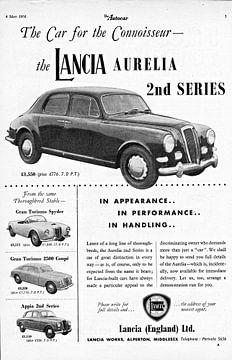 oude Britse advertentie van de Lancia Aurelia uit 1956 van Natasja Tollenaar