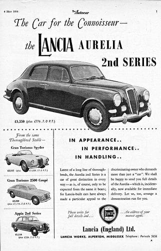 alte britische Werbung des Lancia Aurelia von 1956 von Natasja Tollenaar