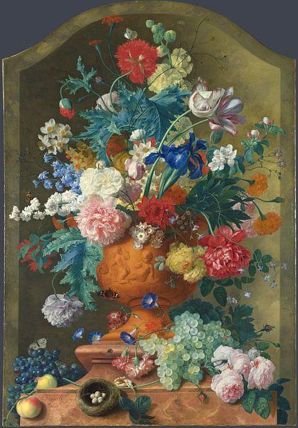 Bloemen in een Terracotta Vaas, Jan van Huysum van Meesterlijcke Meesters