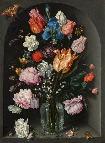 Bloemen in een glazen fles, Jacob de Gheyn II van Meesterlijcke Meesters