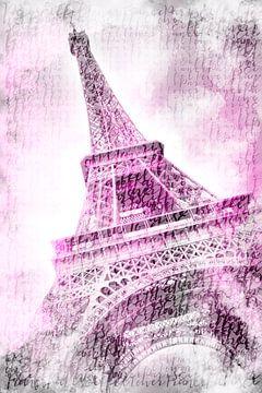 PARIS Tour Eiffel | Aquarelle rose sur