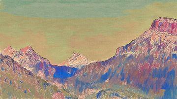 Pastel Bergen Zonsondergang Zonsopkomst - Schilderij