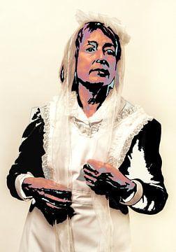 Portret van een vrouw in Saartje-costuum en bewerkt als Popart in Andy Warhol style. van Hans Post