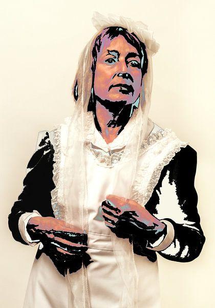 orträt einer Frau in Magd Kostüm und bearbeitet als Popart in Andy Warhol Stil von Hans Post