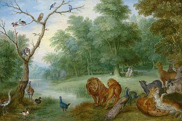 Het paradijs met de zondeval van Adam en Eva, Jan Brueghel de Jonge van Meesterlijcke Meesters
